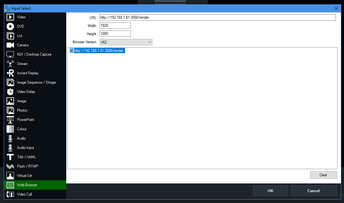 vMix configure browser source